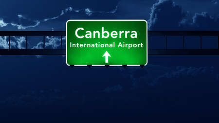 Canberra: Canberra Australia Airport Highway Road Sign 3D Illustration at Night