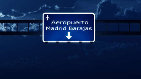 Madrid Spain Airport Highway Road Sign at Night 3D Illustration Stock Photo
