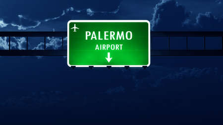 road night: Palermo Italy Airport Highway Road Sign at Night 3D Illustration