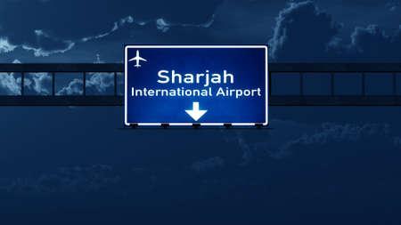 nightfall: Sharjah UAE Airport Highway Road Sign at Night  3D Illustration
