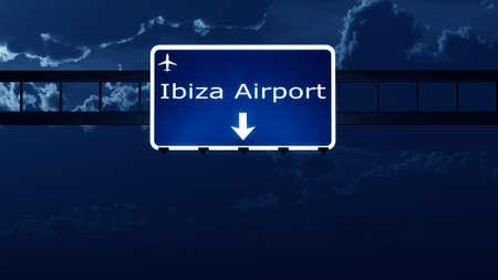 ibiza: Ibiza Spain Airport Highway Road Sign at Night 3D Illustration