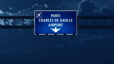 charles de gaulle: Paris Roissy De Gaulle France Airport Highway Road Sign at Night 3D Illustration