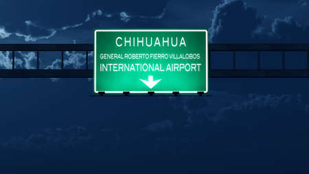 highway night: Chihuahua Mexico Airport Highway Road Sign at Night 3D Illustration