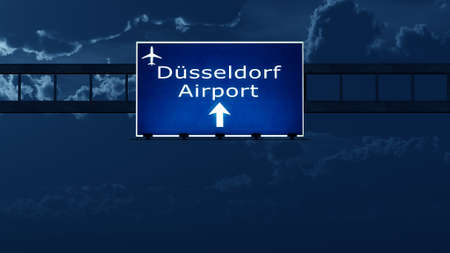 gloom: Dusseldorf Germany Airport Highway Road Sign at Night 3D Illustration