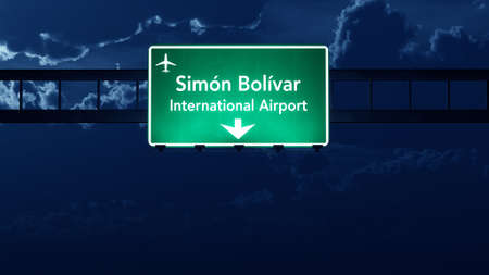 caracas: Caracas Venezuela Airport Highway Road Sign at Night 3D Illustration