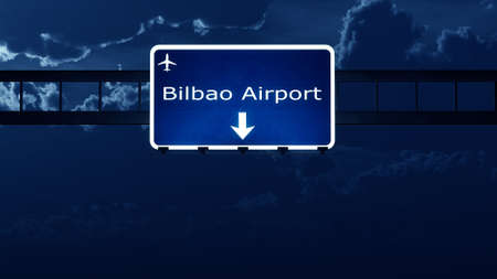 highway at night: Bilbao Spain Airport Highway Road Sign at Night 3D Illustration