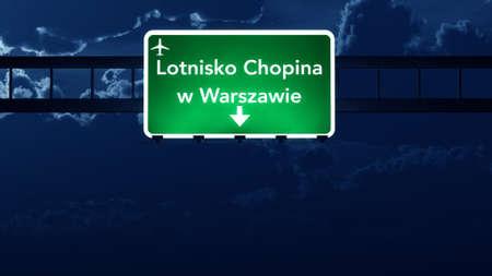 warsaw: Warsaw Poland Airport Highway Road Sign at Night 3D Illustration