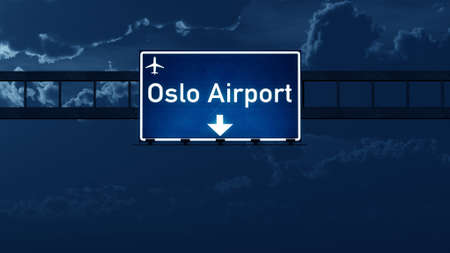 highway night: Airport Highway Road Sign at Night 3D Illustration