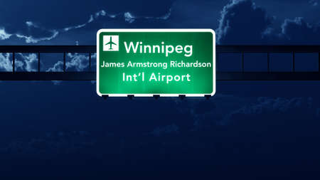 Winnipeg Canada Airport Highway Road Sign at Night 3D Illustration