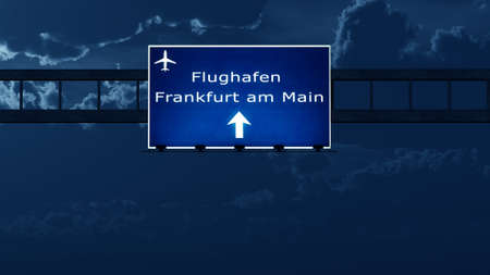 frankfurt: Frankfurt Germany Airport Highway Road Sign at Night 3D Illustration Stock Photo