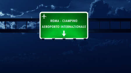 nightfall: Roma Ciampino Italy Airport Highway Road Sign at Night 3D Illustration
