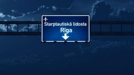 nightfall: Riga Latvia Airport Highway Road Sign at Night 3D Illustration