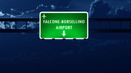 nightfall: Palermo Italy Airport Highway Road Sign at Night 3D Illustration
