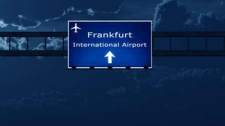 frankfurt: Frankfurt Germany Airport Highway Road Sign at Night 3D Illustration Stock Photo