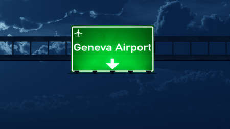 highway at night: Geneva Switzerland Airport Highway Road Sign at Night 3D Illustration Stock Photo
