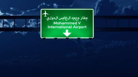 road night: Casablanca Morocco Airport Highway Road Sign at Night 3D Illustration