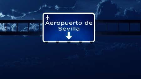 sevilla: Sevilla Spain Airport Highway Road Sign at Night 3D Illustration
