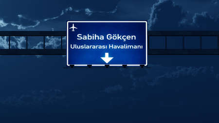 nightfall: Istanbul Gokcen Turkey Airport Highway Road Sign at Night 3D Illustration