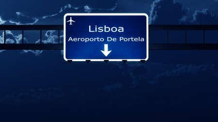 nightfall: Lisbon Airport Highway Road Sign at Night 3D Illustration
