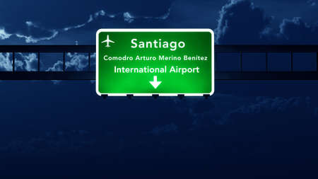 road night: Santiago Chile Airport Highway Road Sign at Night 3D Illustration Stock Photo