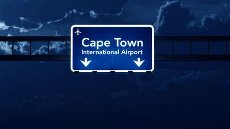 cape town: Cape Town South Africa Airport Highway Road Sign at Night 3D Illustration