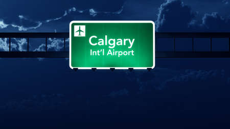 highway at night: Calgary Canada Airport Highway Road Sign at Night 3D Illustration