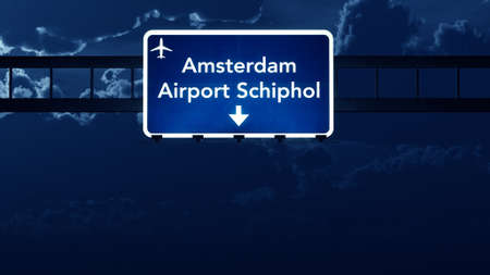 highway at night: Amsterdam Schiphol Netherlands Airport Highway Road Sign at Night 3D Illustration Stock Photo