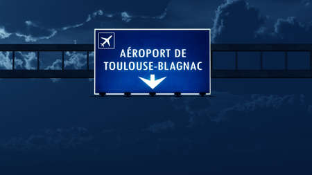 toulouse: Toulouse France Airport Highway Road Sign at Night 3D Illustration