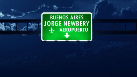 buenos: Buenos Aires Newbery Argentina Airport Highway Road Sign at Night 3D Illustration