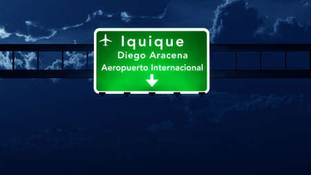 road night: Iquique Chile Airport Highway Road Sign at Night 3D Illustration