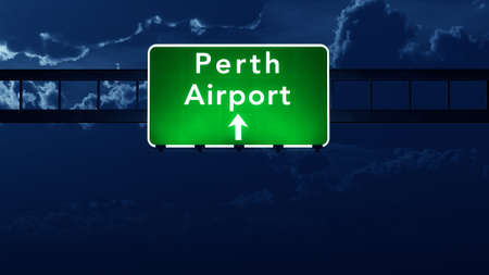highway at night: Perth Australia Airport Highway Road Sign 3D Illustration at Night