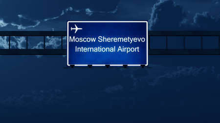 moskva: Moscow Sheremetyevo Russia Airport Highway Road Sign at Night 3D Illustration Stock Photo