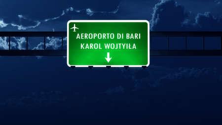 nightfall: Bari Italy Airport Highway Road Sign at Night 3D Illustration