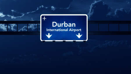 highway at night: Durban South Africa Airport Highway Road Sign at Night 3D Illustration