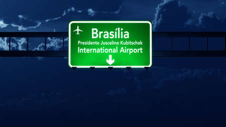 gloom: Brasilia Brazil Airport Highway Road Sign 3D Illustration at Night Stock Photo