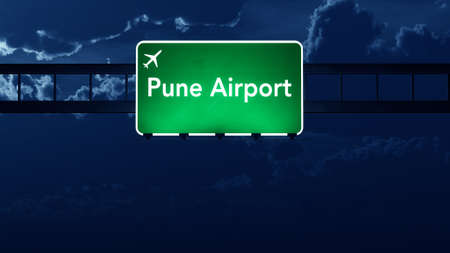 pune: Pune India Airport Highway Road Sign at Night 3D Illustration