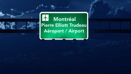 montreal: Montreal Canada Airport Highway Road Sign at Night 3D Illustration Stock Photo