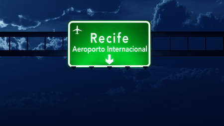 nightfall: Recife Brazil Airport Highway Road Sign 3D Illustration at Night Stock Photo
