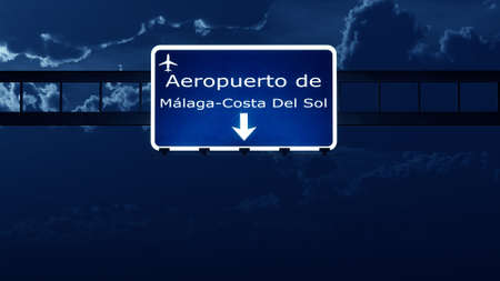 nightfall: Malaga Costa Del Sol Spain Airport Highway Road Sign at Night 3D Illustration Stock Photo