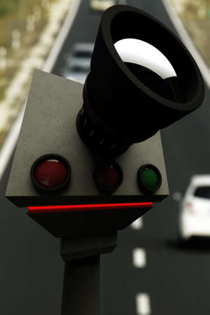 the traffic movement police: Traffic Vehicle Road Speed Control Recording Unit in Service 3D Image and Real Background Photo Composite Stock Photo