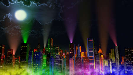 moon  metropolis: Modern City Lit by Colorful Light Effects at Night 3D Illustration. Concept to any big modern city with the New Years Eve vivid atmosphere.