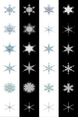 high detailed: 12 High Detailed Snowflakes with Alpha Keys Illustration