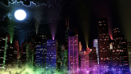 urbanscape: Modern City Lit by Colorful Light Effects at Night 3D Illustration. Concept to any big modern city with the New Years Eve vivid atmosphere.