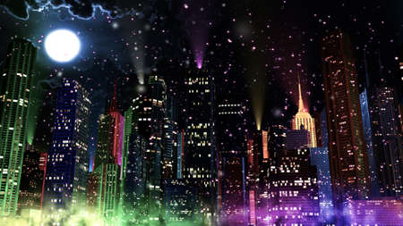 lightrays: Modern City Lit by Colorful Light Effects at Night 3D Illustration. Concept to any big modern city with the New Years Eve vivid atmosphere.