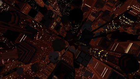 moon  metropolis: Modern City at Night 3D Illustration