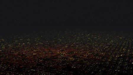 night view: Huge Flat Suburban Area at Night Aerial View