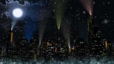 lightrays: Modern City at Night 3D Illustration