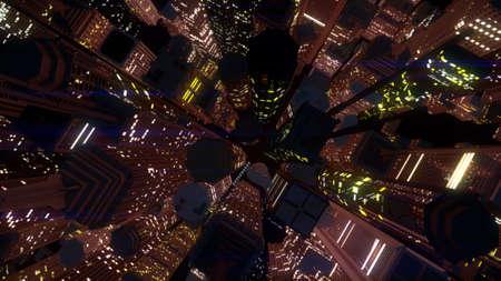 urbanscape: Modern City at Night 3D Illustration