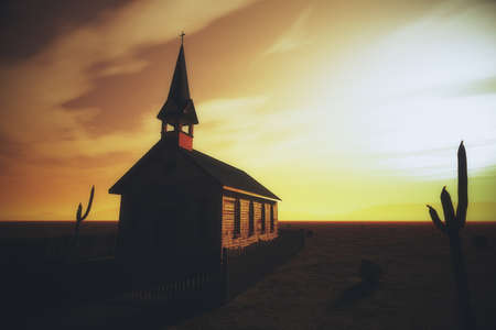 worn structure: Old Wooden Christian Desert Chapel 3D Illustration Stock Photo