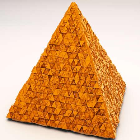 mistic: Mysterious Greeble Pyramid  in Orange 3D Illustration
